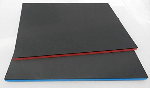 (72 €/m²) Werkzeugeinlage, ca. 500 x 1000 x 35 mm Hartschaumstoff Systemeinlage Schaumeinlage für Werkzeugwagen, schwarz/rot, Top Industriequalität
