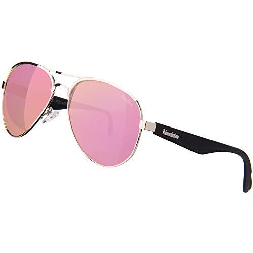Verdster Horizon - Gafas De Sol De Aviador Polarizadas Para Mujer – Protección UV 400 – Montura De Acero Inoxidable Y Patillas TR90