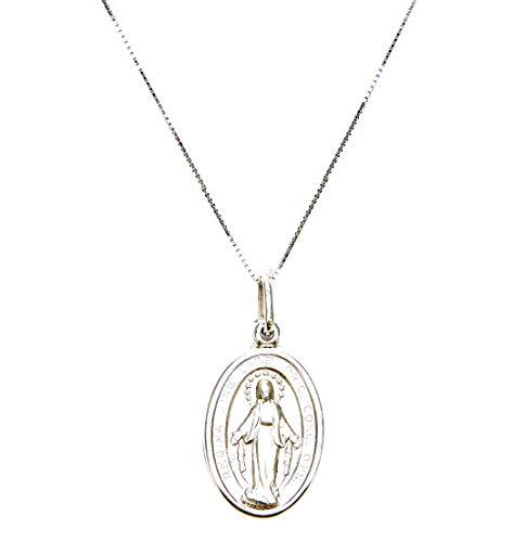 Collana Oro Bianco 18kt (750) Catenina Veneta Pendente con Madonna di Lourdes Donna