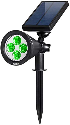 AMIR Solar Spotlights Outdoor Upgraded, Waterproof 4 LED Solar Security Landscape Lights, Adjustable Solar Garden Light with Auto On/Off for Yard Driveway Pathway Pool Patio (Green)
