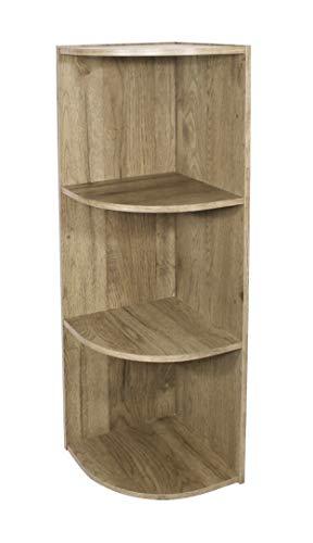 Iris Ohyama Étagère d'angle/Meuble de rangement modulable, 3 compartiments - Basic Storage Shelf CX-3C - Bois, Brun cendré, L29 x P29 x H87.9 cm 531570