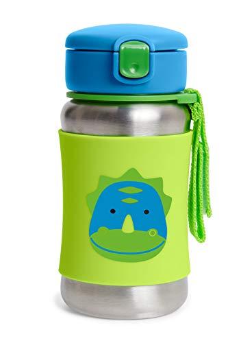 Skip Hop Copo infantil com canudo, garrafa de canudo de aço inoxidável do zoológico, dinossauro
