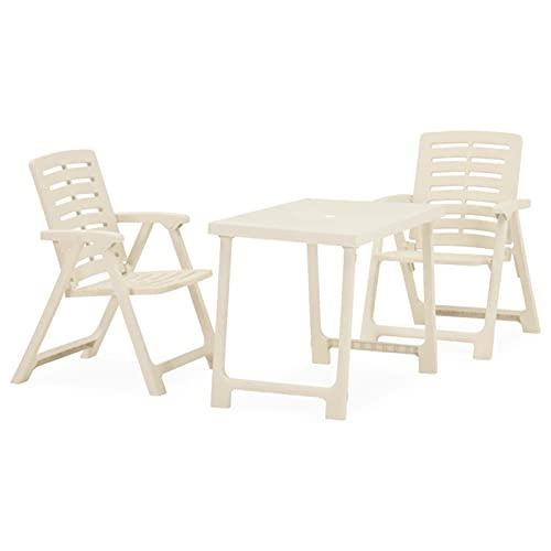 Tidyard Mesa y sillas bistró de jardín Plegables 3 pzas plástico Muebles...