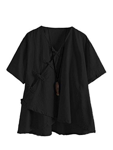 MatchLife Damen Leinen Tops Klassisches Vintage T-Shirt Chinesisch V-Ausschnitt Tunika Bluse Schwarz Fits EU 38-46