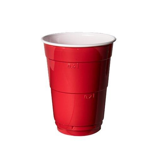 Huhtamaki • PREMIUM • Partybecher • Party Cup • Rot • 50 Stück • Beer Pong Cup • Bierpong Becher • Trinkbecher mit extra starkem Boden • Becherrand abgerundet und verstärkt • für Kinder geeignet