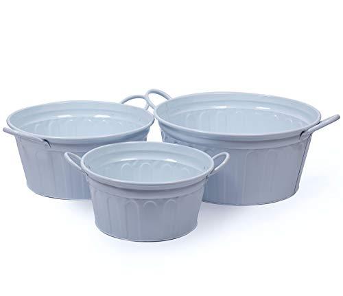 Dipamkar Juego de 3 macetas grandes de zinc galvanizado de metal macetas, cubos de almacenamiento con asas para jardín y hogar