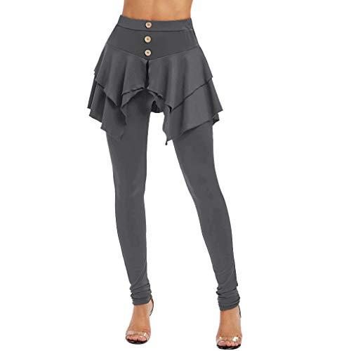 Xuthuly Frauen Arbeiten beiläufige süße Reine Farben-unregelmäßige Einteilige Hosen-Kleid-Damen-Kurze Bequeme dünne Sitz-Yoga-Trainings-Hosen