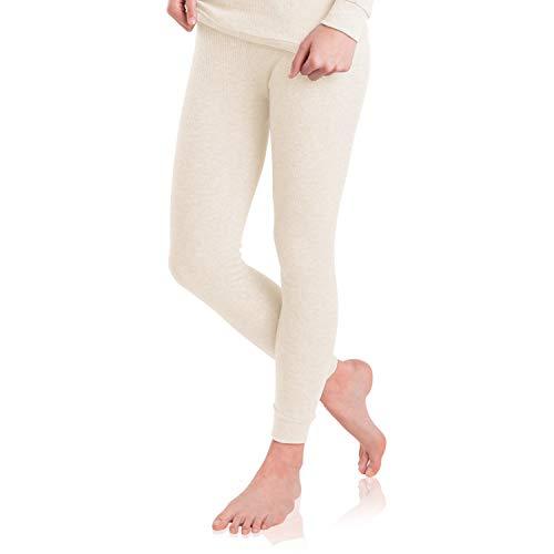 MT Damen Ski- & Thermohose - warme Unterwäsche lang mit Innenfleece - Ecru S