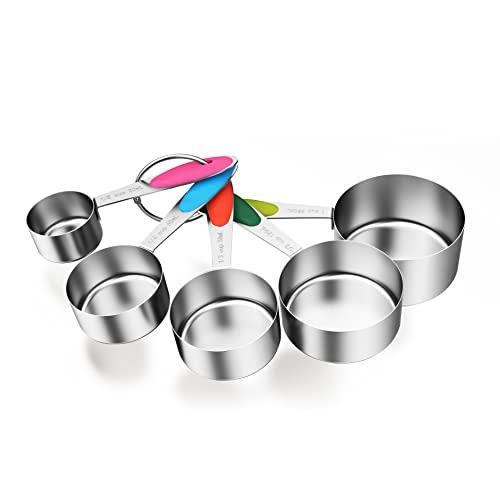 ipow Lot de 5 Cuillère Doseuse INOX, Verre Doseur Cuisine avec Poignée en Silicone, Cup Mesure Americaine pour Cuisson/Pâtisserie