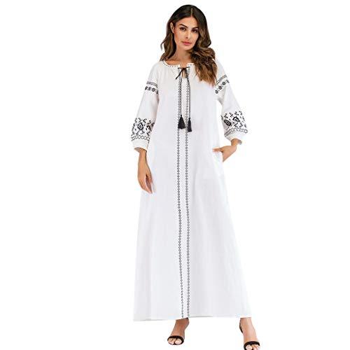 Lazzboy Frauen Langarm Bestickte Arabische Kleid Islam Jilbab Muslimische Damen Herbst Hochzeit Kaftan Robe Tunika Abaya Dubai Abendkleid Muslim Knöchellang Gewand Islamische Kleidung(Weiß,2XL)