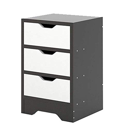 XUSHEN-HU Mesita de noche de alto brillo negro con 3 cajones de almacenamiento, mesita de noche multiusos (color: negro, tamaño: 30 x 30 x 48,2 cm)