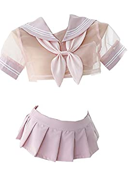 Yameidie Women s Cute Sexy See-Through Japanese School Girl Sailor Suit Anime Cosplay Lingerie Set  Pink