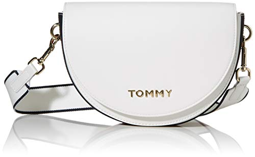 Tommy Hilfiger Damen Tommy Staple Saddle Umhängetasche, Weiß (Bright White), 1x1x1 cm