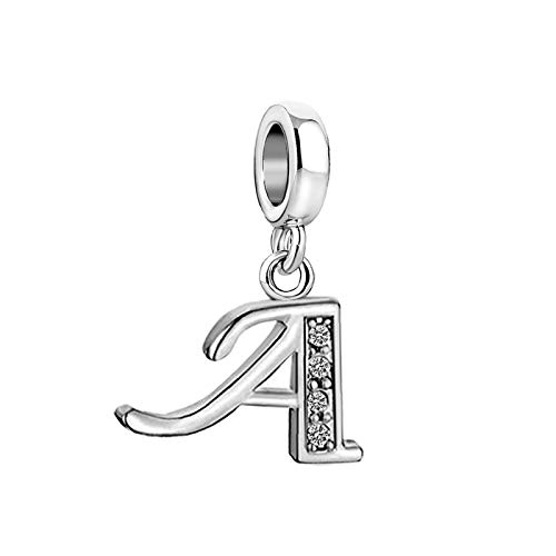 SBI Jewelry Initial Letter Charm for Bracelets Crystal A Pendant Necklace Dangle Gift for Mum Wife Birthday Anniversary