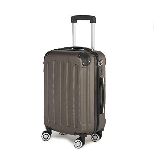 Koffer Kofferset Trolley Hartschale Reisekoffer 4 Rollen A13 M-L-XL-Set (Braun, L)