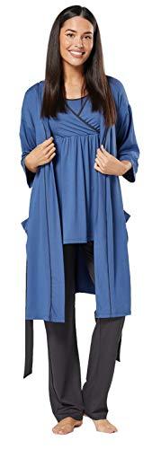 HAPPY MAMA Femme Maternité Ensemble Pyjama/Pantalon/Haut/Robe Chambre 558p (Bleu Jeans & Graphite, 44, 2XL)