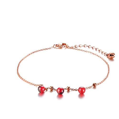 N/Z Pulsera joyería para Mujer Acero Titanio Rojo Granate Campana Tobillera Oro Rosa