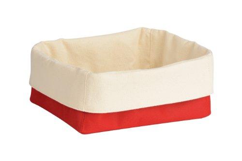 Premier Housewares 1901099 Panier à Pain en Polyester/Coton Crème/Rouge