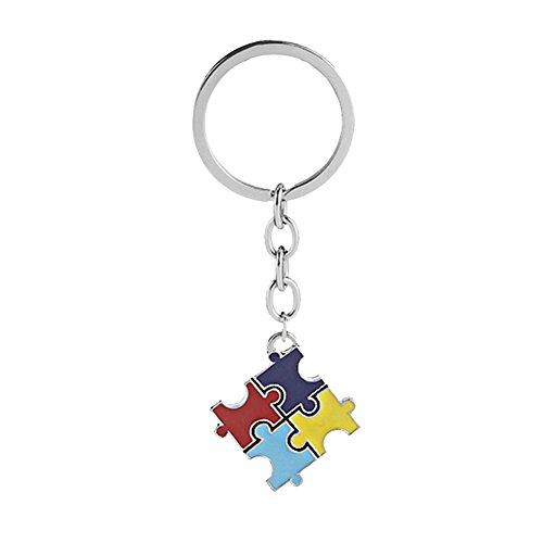 GuDeKe Autismus Bewusstsein Puzzle Stück Stichsäge Halsketten/Schlüsselanhänger (Schlüsselanhänger)