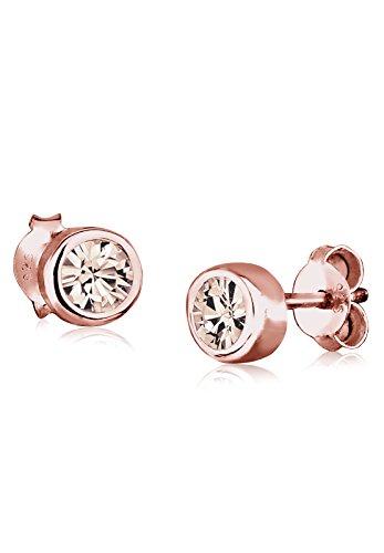 Elli Damen-Ohrringe Klassisch Geo Basic rosé silber 925 Swarovski Kristall braun 0301930516