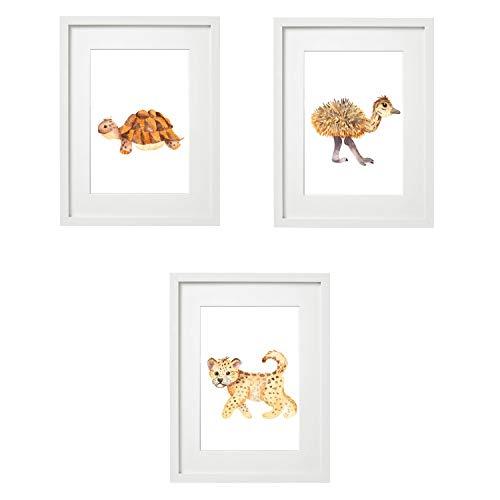 Kinderzimmer Bilder Babyzimmer Poster DIN A4 | Mädchen Junge | Baby Tiere | farbig | Babyzimmer Deko (3er #10)
