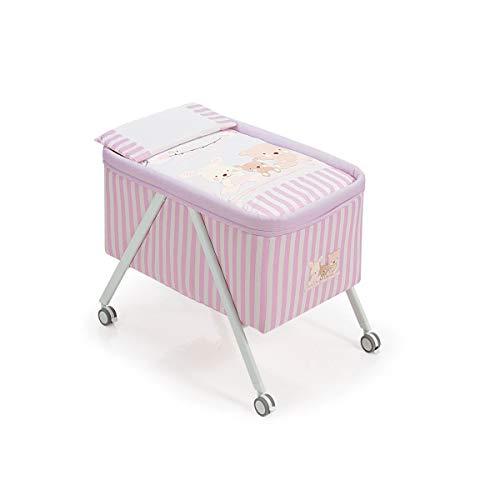 Interbaby Love - Minicuna de aluminio + textil, color gris/rosa
