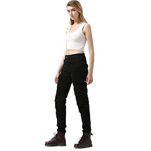 QINYA Damen Motorradhose Jeans Motorrad Hose Motorradrüstung Schutzauskleidung Motorcycle Biker Pants Mit 2 Knieschützern Und 2 Hüftprotektoren (black,M)