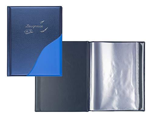 Idena 20015 Zeugnismappe, 12 Hüllen, metallic, A4, blau