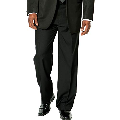Kingsize Signature Collection Men's Big & Tall Kingsize Signature Collection Plain Front Tuxedo Pants, Black Big-7038