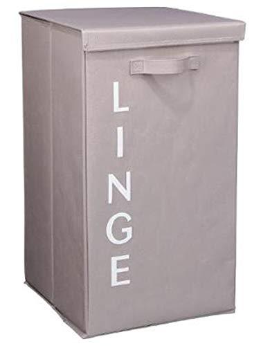 PEGANE Panier à Linge Coloris Taupe - Hauteur 65 x Profondeur 30 x Largeur 39 cm