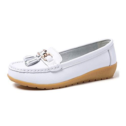 QCBC Pisos de Las Mujeres Zapatos de Ballet Cortados de Cuero Zapatos de Barco Transpirable Bailarina Zapatos Casuales de Las señoras,38EU