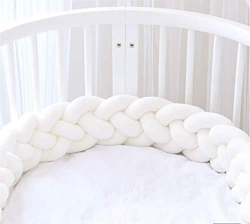 MAICHIHUOY Bettumrandung Babybett 4 Weben Geflochtene Stoßfänger Dekoration Kantenschutz Kopfschutz Bettschlange 220cm