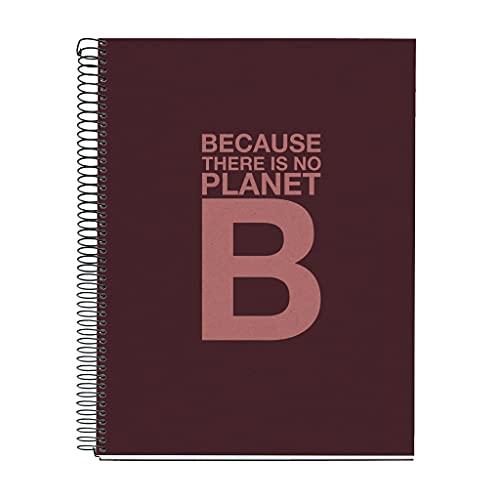 ECOALF - Cuaderno 100% Reciclado - 4 franjas de color, A4, 120 Hojas Rayas Horizontales, Papel 80 g, 4 Taladros, Cubierta de Cartón Reciclado, Color Burdeos by MIQUELRIUS