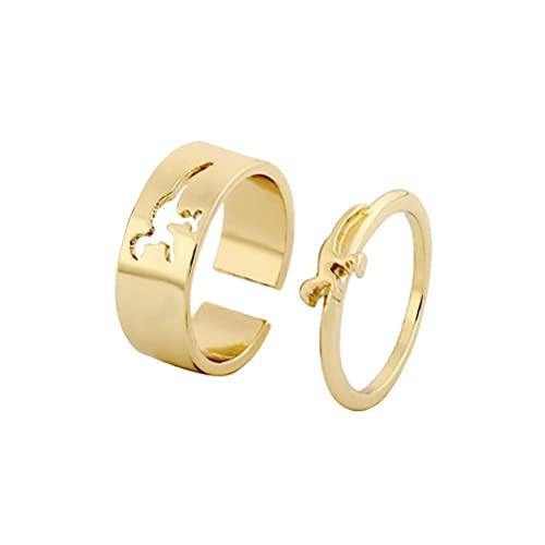 Eeauytr Anillos de pareja para mujeres y hombres, anillos de dinosaurios a juego, anillos abiertos ajustables, anillos de compromiso para hombres y mujeres, regalos de joyería de boda