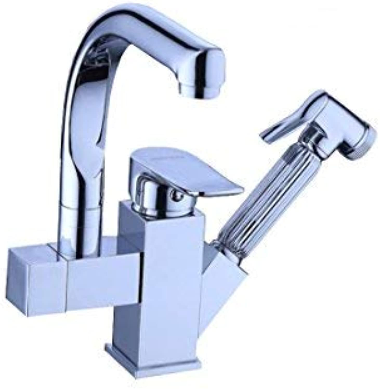 ZHAS Mit Spritzpistole Pull-Typ Spüle Wasserhahn Einloch-Spüle rotierenden heien und kalten Mischbatterie Küche Wasserhhne 360-Grad-Spektrum der Reinigung