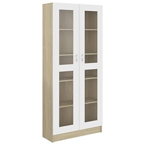 Ausla Bibliotheksregale Aufbewahrungseinheit mit 5 Fächern und 2 Türen für das Büro Büro Schlafzimmer Eingang, 82,5 x 30,5 x 185,5 cm