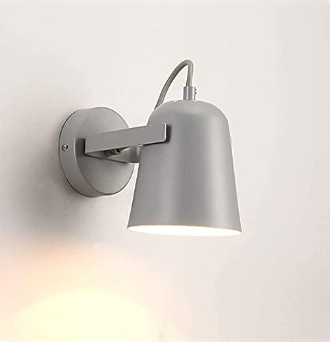 Ckssyao Lámpara de Pared Dormitorio del Norte de Europa Luz cálida de la mesita de Noche Creativa Simple Individualidad Sala de Estar Lámpara de Pared Macaron (Color:Gris)