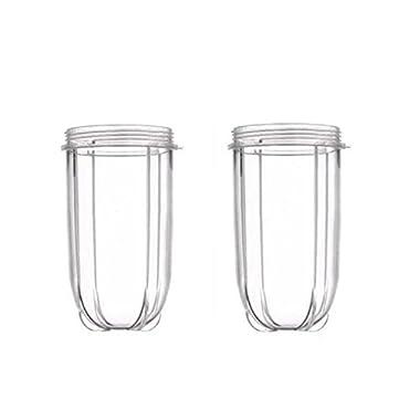 Blendin 2 Pack Replacement 16 Ounce Tall Jar Cups, Fits Original Magic Bullet Blender Juicer 250W MB1001