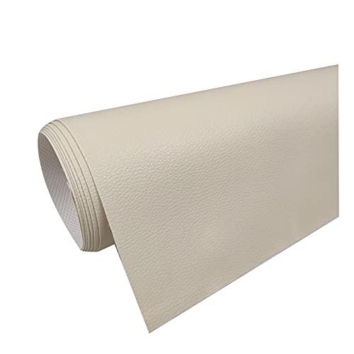 Tela de Imitación de Cuero PVC Litchi Patrón de Cuero para Reparación de Sofás Costura Elaboración de Proyectos de Bricolaje - (1 Pieza = 100Cm X160cm) -Amarillo Beige,1.6x3m