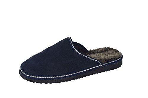 Sonia Originelli Herrenpantoffel Schuhe Schaf Lammfell Eva Sohle Echt Leder Farbe Marine, Größe 45