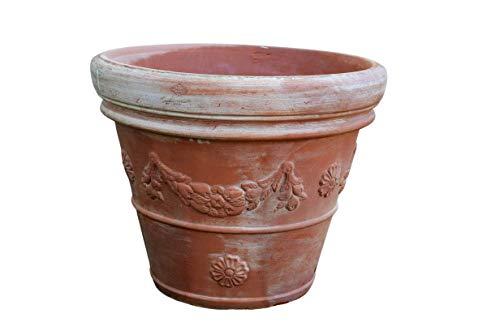 Vaso doppio bordo festonato in terracotta personalizzabile Vaso per esterno di grandi dimensioni Vaso Limone resistente alle intemperie Artigianale Made in Italy