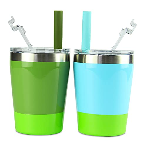 Housavvy Toddler Cups, 2 Pack Easy Cleaning Stackable Kids Cups Vacuum Insulated Double Wall Stainless Steel Cups with BPA Free Lids and Straws, Dishwasher Safe, 8.5 Oz, Pack of 2, Green/Teal
