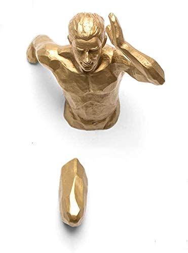 Juxmnnp Running Man Wall Sculpture, Unique Hand-Finished Resin Statues, 3D Human Statues Ornament, Wall Mount Art Sport Figurine For Home Office Studio Gym Art Decor (Color : Golden/Right Hand)