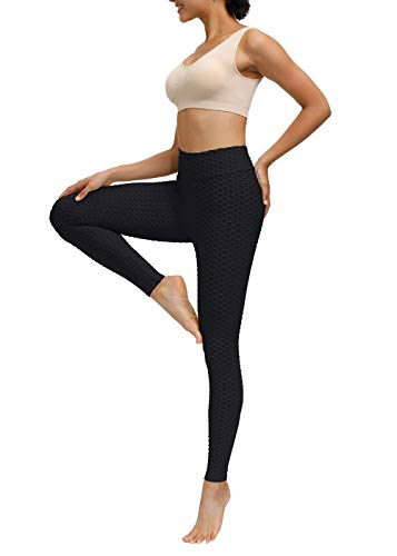 Yidarton Women Honeycomb Anti Cellulite Compression Leggings, High Waisted Ruched Butt Lift Yoga Pants, Tummy Control Scrunch Running Tights