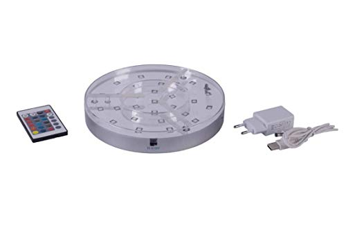 DIAMOND HOOKAH Premium Shisha LED Untersetzer wiederaufladbar Base Lights Effekt Licht für Wasserpfeife mit Fernbedienung 20cm Durchmesser, 28 Pieces Multicolors LEDs