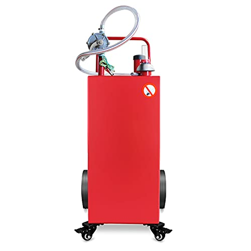 EAWELLPR 30 Gallon Gas Caddy with Pump Fuel Transfer GasolineTank 4 Wheels Fuel Storage Tank for Automobiles ATV Car Mowers Tractors (30 Gallon)
