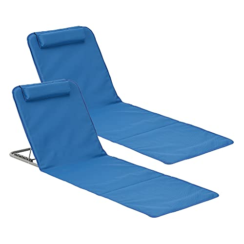 Set de 2 x Esterilla de Playa o Piscina Donostia 143 x 48 cm Tumbona Plegable con Cojín y Bolsa de Transporte Respaldo Abatible en 5 Posiciones Lounge Azul