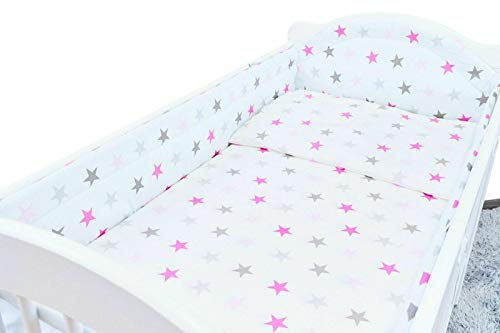 5PC Baby Bedding Set Bumper Allround Pillow Duvet COTBED 140x70 Grey Pink Stars