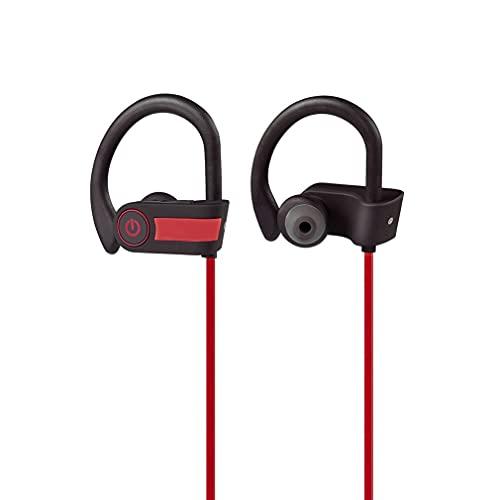 Sport hörlurar med mikrofon som viras runt hörlurar med öronkrok, i örat löpning hörlurar för träning gym kompatibel med iPhone