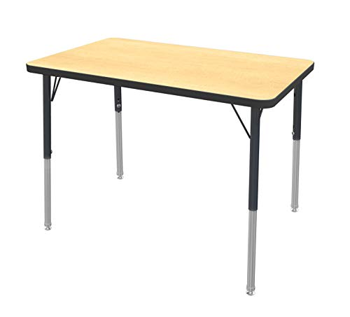"Marco Group MGc2224-50-BBLK 24"" x 36"" Rectangular Shaped Adjustable Height Classroom Activity Table (21""- 30"") Fusion Maple -Top, Black-Edge, Black-Leg"